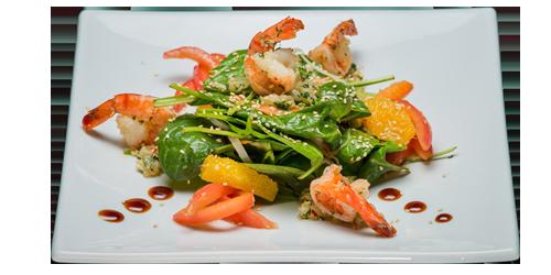 Теплий салат з креветкою